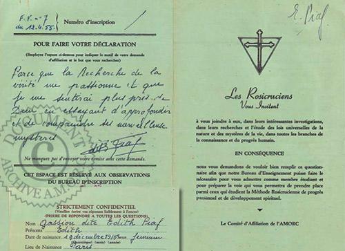 Edith Piaf - Demande d'adhésion à l'A.M.O.R.C.